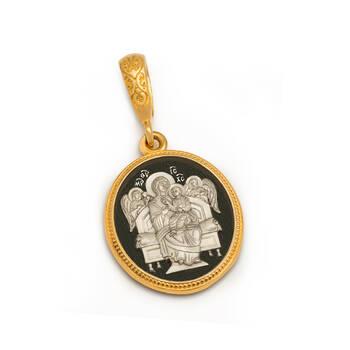 Нательная икона с образом Пресвятой Богородицы Всецарица (Пантанасса) серебряная с позолотой PISP05