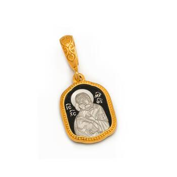 Нательная икона: образ Пресвятой Богородицы Владимирской серебряная с позолотой PISP06
