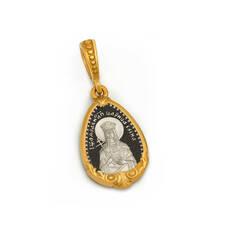 Нательная иконка серебряная - образ святой равноапостольной царицы Елены и Ангела Хранителя PISP07