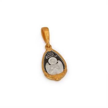 Нательная иконка: образ святой равноапостольной княгиня Ольга и Ангела Хранителя серебряная с позолотой PISP08