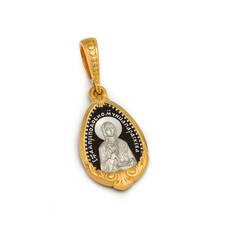 Нательная иконка: образы святой преподобномученицы Параскевы Римской и Ангела Хранителя  серебряная с позолотой  PISP10