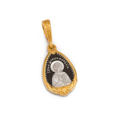 Нательная иконка серебряная - образ святой мученицы Наталии Никомидийской и Ангела Хранителя PISP13