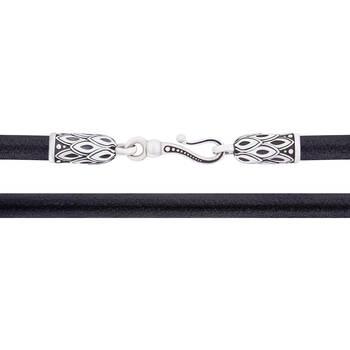 Шнурок для крестика кожаный с серебряным карабином SHS3001