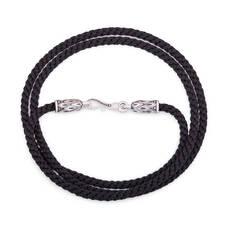 Гайтан для крестика плетеный из шелковой нити с серебряной застежкой, D 3,0 мм (арт. SHS3005)