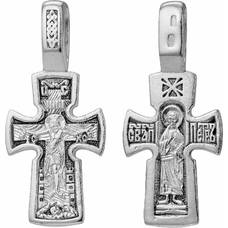 Крест нательный серебряный: Распятие Иисуса Христа, Николай Чудотворец (арт. 21111-110)