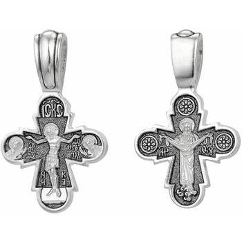Серебряный крестик маленький - Распятие Иисуса Христа, икона Покрова Пресвятой Богородицы (арт. 21111-124)