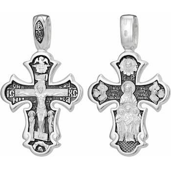 Серебряный крест - Распятие Иисуса Христа, Вера, Надежда, Любовь (арт. 21111-130)