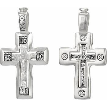 Серебряный крест - Распятие Иисуса христа с молитвой ко Кресту (арт. 21111-143)