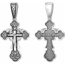 Большой серебряный крест мужской - Распятие Иисуса Христа с молитвой Спаси и сохрани (арт. 21111-149)