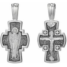 Серебряный крест мужской: Распятие Иисуса Христа, Ангел Хранитель (арт. 21111-153)