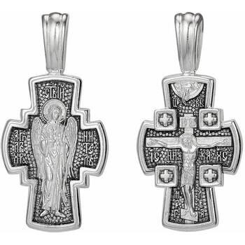 Крест мужской серебряный: Распятие Иисуса Христа, Ангел Хранитель (арт. 21111-153)