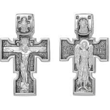 Большой крест мужской серебряный: Распятие, Архангел Михаил, Казанская икона Божией Матери (арт. 21111-154)