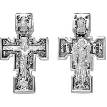 Большой мужской крест из серебра: Распятие, Архангел Михаил, Казанская икона Божией Матери (арт. 21111-154)