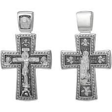 Серебряный крест - Распятие Иисуса Христа, Георгий Победоносец (арт. 21111-155)