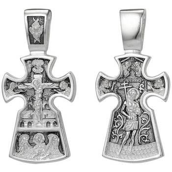 Серебряный крест - Распятие, Архангел Михаил, благоразумный разбойник (арт. 21111-157)