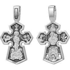 Серебряный крестик мужской - Господь Вседержитель, Седмиезерная икона Божией Матери (арт. 21111-175)