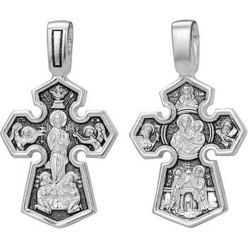 Мужской крест серебряный с чернением - Господь Вседержитель, Седмиезерная икона Божией Матери (арт. 21111-175)
