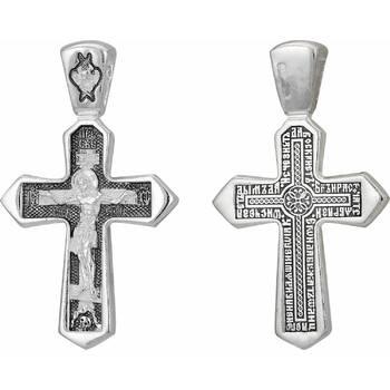 Серебряный крест - Распятие Иисуса христа с молитвой ко Кресту (арт. 21111-18)