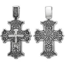 Православный крест крупный из серебра - Распятие Иисуса Христа с орнаментом (арт. 21111-201)
