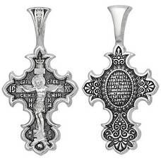 Крест серебряный православный: Распятие Иисуса христа с молитвой ко Кресту (арт. 21111-205)