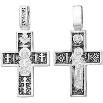 Нательный крест православный (серебряный с чернением) - Господь Вседержитель, Трифон Апамейский (арт. 21111-218)