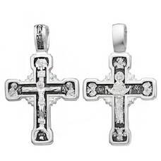 Серебряный крест - Распятие Иисуса Христа, икона Покрова Пресвятой Богородицы (арт. 21111-232)