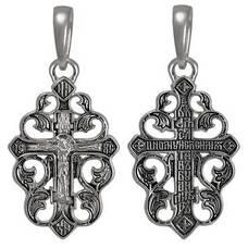 Крестик серебряный женский - Распятие Иисуса Христа с молитвой (арт. 21111-236)