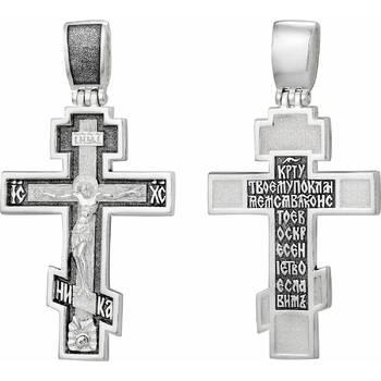 Крест староверский серебряный - Распятие Иисуса христа с молитвой ко Кресту (арт. 21111-24)