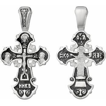 Серебряный крестик: Распятие Иисуса Христа, святой Николай (арт. 21111-253)