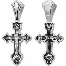 Крест нательный из серебра малый с чернением - Распятие Иисуса Христа с молитвой Спаси и сохрани (арт. 21111-50)