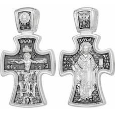 Крест мужской серебро с чернением: Распятие Иисуса Христа, Николай Чудотворец (арт. 21111-78)