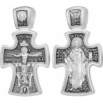 Крестик православный мужской: Распятие Иисуса Христа, Николай Чудотворец (арт. 21111-78)