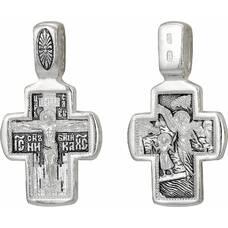 Серебряный крест - Распятие Иисуса Христа, Ангел Хранитель (арт. 21111-80)