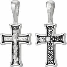 """Нательный крестик """"Спаси и сохрани"""" серебряный (арт. 21111-82)"""