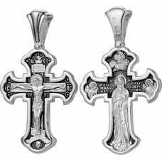 Серебряный крест - Распятие, Валаамская икона Божией Матери, Архагел Михаил и Гавриил (арт. 21111-89)
