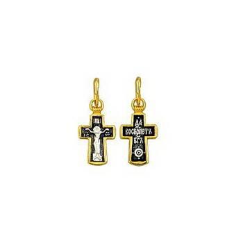 Серебряный крест для крещения - Распятие Иисуса христа с молитвой ко Кресту (арт. 21112-145)