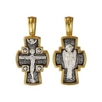 Серебряный крест: Распятие Иисуса Христа, Ангел Хранитель (арт. 21112-153)