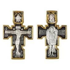 Крестик нательный мужской с позолотой: Распятие, Архангел Михаил, Казанская икона Божией Матери (арт. 21112-154)
