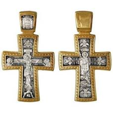 Мужской нательный крест из серебра с позолотой - Распятие Иисуса Христа, Георгий Победоносец (арт. 21112-155)