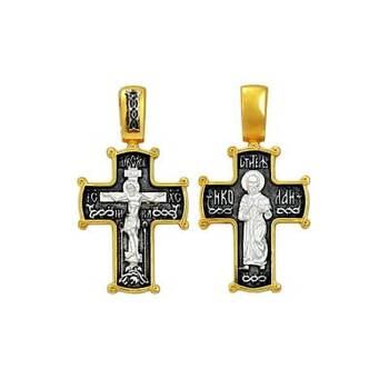 Крест серебряный нательный: Распятие Иисуса Христа, Николай Мирликийский (арт. 21112-16)