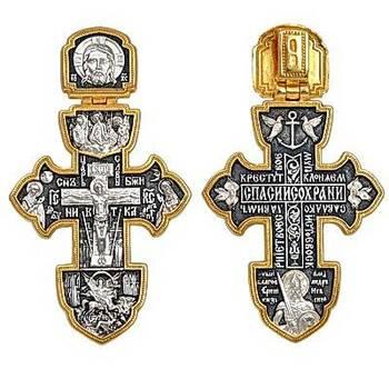 Крест серебряный мужской большой «Александр Невский, Архангел Михаил, Святая Троица» (арт. 21112-167)