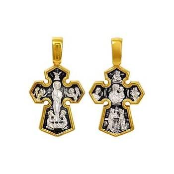 Серебряный крест - Господь Вседержитель, Седмиезерная икона Божией Матери (арт. 21112-175)
