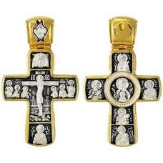 Серебряный крест - Распятие Иисуса Христа, Ангел Хранитель (арт. 21112-179)