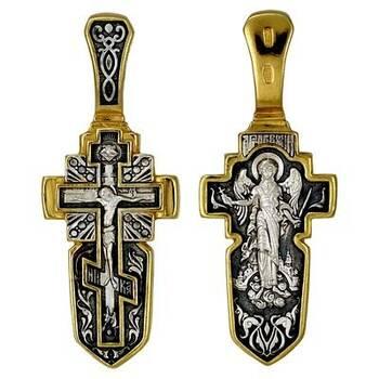 Серебряный крест - Распятие с Андреевским крестом, Ангел Хранитель (арт. 21112-187)