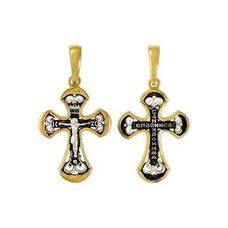Серебряный крест женский - Распятие Иисуса Христа с молитвой Спаси и сохрани (арт. 21112-195)