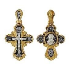Крест серебряный: Распятие Иисуса Христа, Николай Чудотворец (арт. 21112-204)