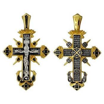 Крест серебряный мужской большой с позолотой - Распятие Иисуса христа с молитвой ко Кресту (арт. 21112-206)