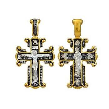 Крестик нательный: Распятие, Валаамская икона Божией Матери (арт. 21112-219)