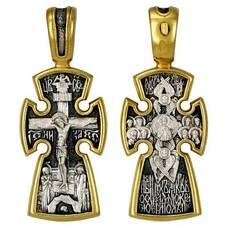 Серебряный крест - Распятие, Спас Эммануил (арт. 21112-223)