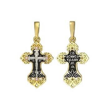 Серебряный крест - Распятие Иисуса Христа с молитвой Спаси и сохрани (арт. 21112-243)